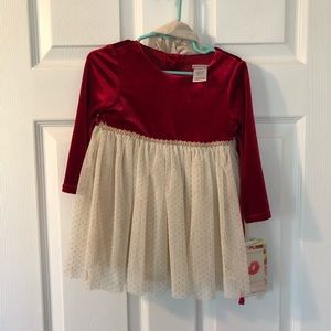 NWT red velour and gold tulle dress